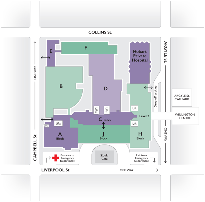 RHH Redevelopment Map - for detailed access information please contact the RHH reception 6166 8308